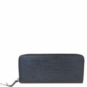 LOUIS VUITTON Clemence Epi Leather Wallet Black